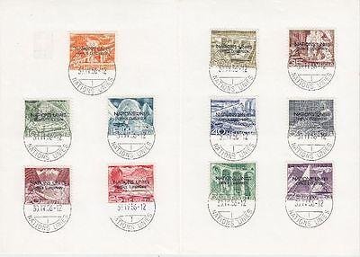 Schweiz 1950 ONU Mi.Nr. 1-11 I auf PTT Blatt Plattenfehler C statt E Selten