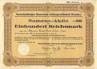 Dresden Gemeinnütziger Bauverein Namens-Aktie 100 RM 1941  ungelocht