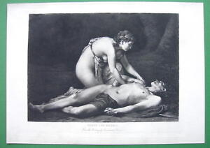 NUDE Mythology Venus Mourning Adonis - VICTORIAN Antique Print