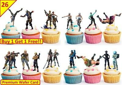 52 Fortnite DANCE  Birthday Cup Cake Party Toppers Wafer Edible STAND UP