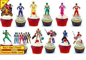 44 x Power Rangers Cup Cake Wafer Rice Toppers Birthday Party Edible *STAND UP*