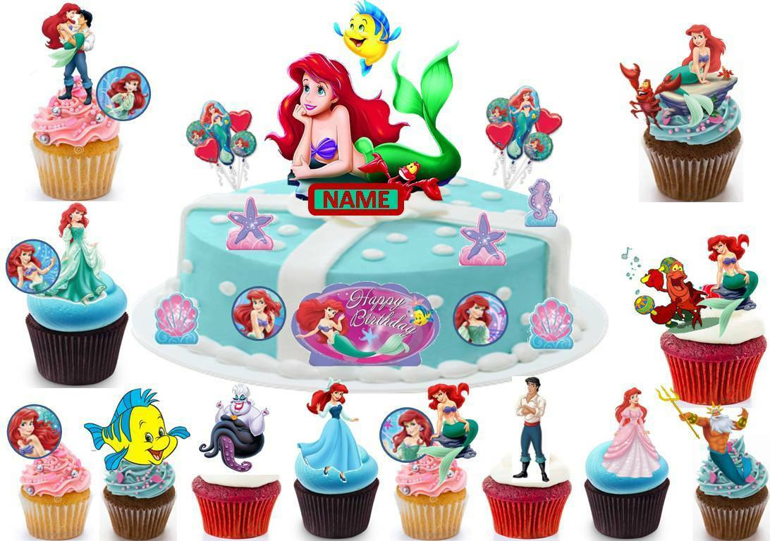 Disney Little Mermaid Cup Cake Scene Toppers Wafer Edible ...