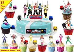 Power Rangers Cup Cake Scene Toppers Wafer Edible STAND UP PERSONLISE CUSTOM