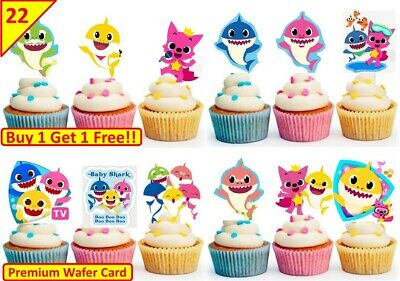 44 Baby Shark Edible Cup Cake Toppers Wafer Kids Birthday Party STAND UP ()
