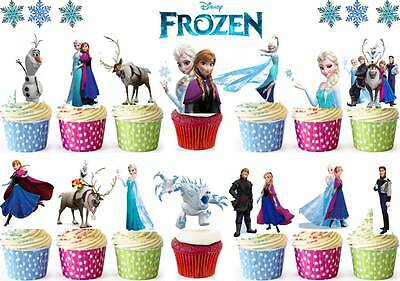 35 DISNEY FROZEN Stand Ups Edible Birthday Rice Wafer Cake/Cupcake Toppers Elsa ()