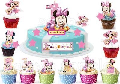 Tortenaufleger NEU Party Deko Muffinaufleger 1.Geburtstag (Minnie Maus Kuchen 1. Geburtstag)
