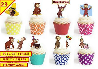 46 Curious George Cup Cake Fairy Edible Wafer Rice Toppers Birthday Stand up (Curious George Cupcakes)
