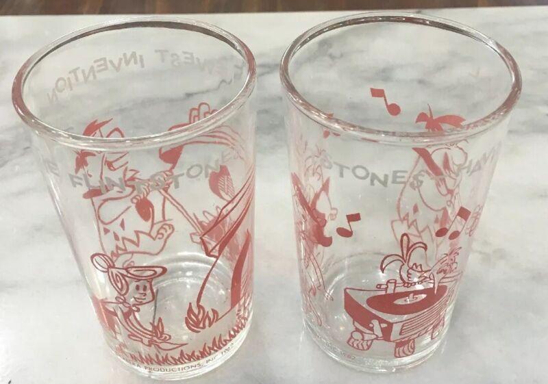 Vintage 1962 Flintstones - Set Of 2 Hanna Barbera Welches Glasses