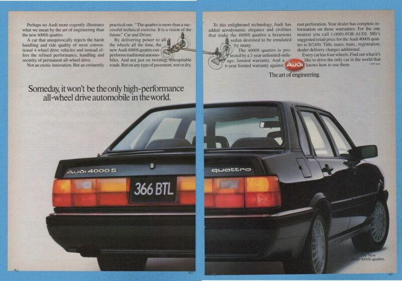 1985 Audi 4000S Quattro 4000 Sedan Only high performance all wheel drive Ad