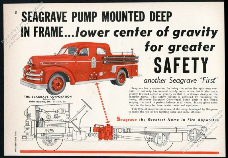 1954 Seagrave fire engine truck photo chassis diagram vintage print ad