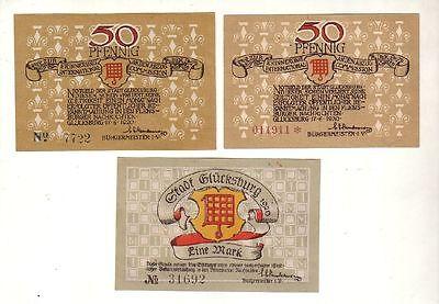 3 Banknoten 2 x 50 Pfennig 1 Mark Notgeld Stadt Glücksburg 1920 (115634)
