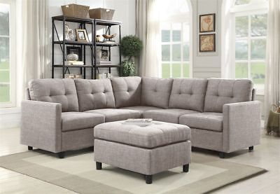 Grey Linen L-Shape Reversible Chaise Sectional Modern Sofa Set Couch Microsuede  ()