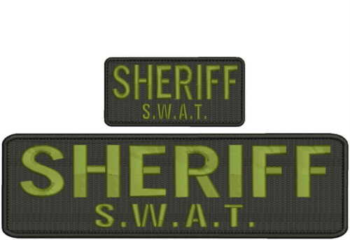 Sheriff SWAT embroidery patch 3x10 and 2x4 hook on back od green letters