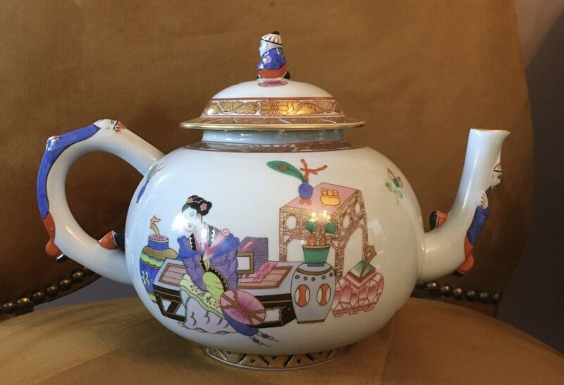 Herend Hand Painted Porcelain Tea House Teapot.