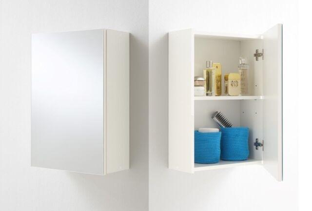 fmd elda bathroom wall cabinet with mirror shelf toiletry cupboard white