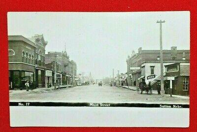 1910 RPPC Sutton, Nebraska - Main Street - WOB,  posted - Olson photo -EXCELLENT