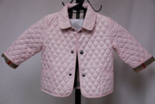 Pristine BURBERRY Baby toddler girl girls pink quilted jacket coat 9M