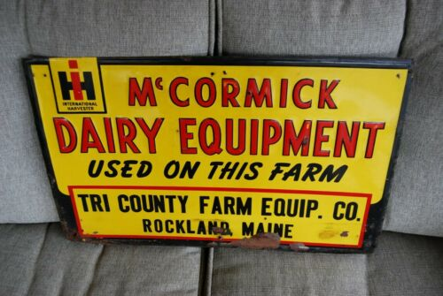 Vintage International Harvester, McCormick Dairy Farm Equipment Sign, Metal.