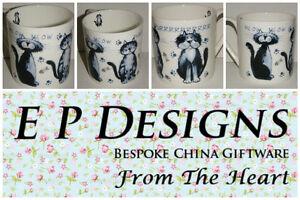 BN Very Large 18oz Mug Scruffy Cat Design, Bone China Pint Mug, Cat Mug