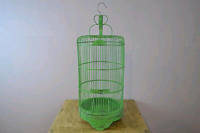 Hand Made Vintage Style Green Wood Bird Cage Domed Bird House w/ Disposal drawer