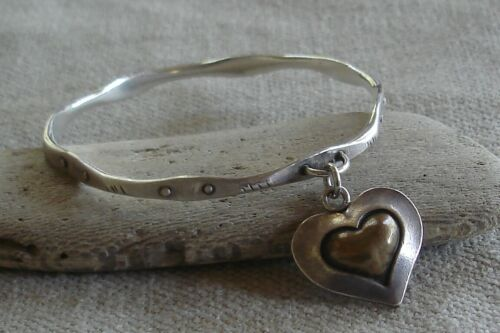 Vintage Thomas Mann Techo Romantic Sterling Silver Bronze Heart Bangle Bracelet