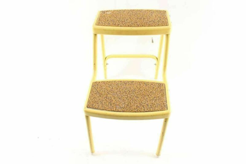 Vintage Yellow Metal Kitchen Step Stool