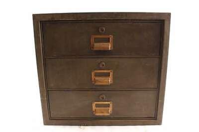 Old Vintage Industrial Metal 3 Drawer Cabinet W Bin Pulls 20 X 18 X 20