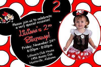 Minnie Mouse with Photo Birthday Invitations ~ Style - Minnie Mouse Photo Invitations