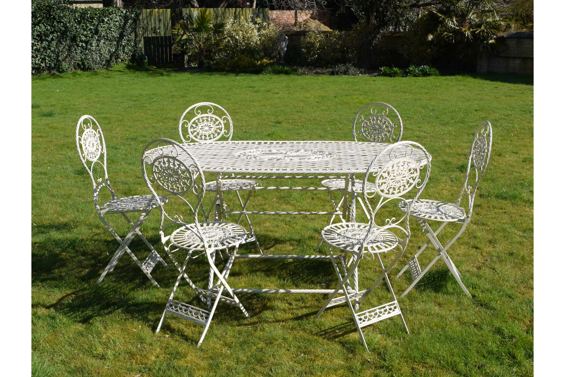 ANTIQUE SHABBY CHIC FRENCH WHITE METAL IRON GARDEN TABLE CHAIRS PATIO BISTRO SET
