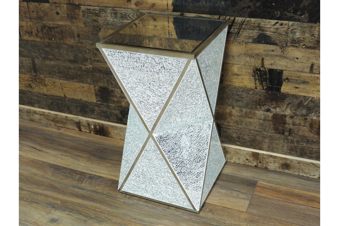 SILVER MIRRORED CRACKLED GLASS MODERN SIDE END LAMP COFFEE TABLE (DX4705)