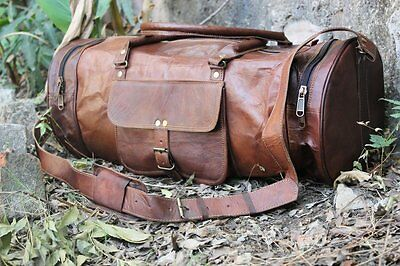 "New 24"" Men's Brown Vintage Genuine Leather Yoga Travel Luggage Duffle gym Bags"