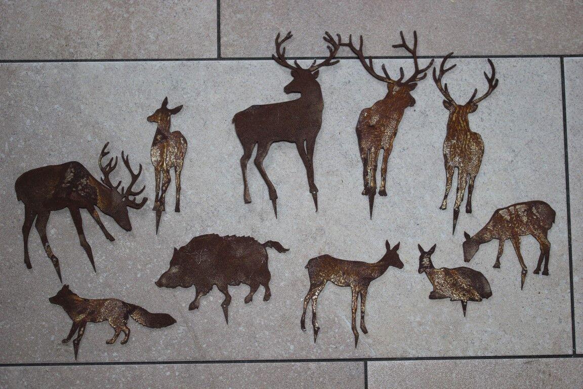 Wildstecker waldtiere aus metall z stecken edelrost for Tiere aus rostigem metall