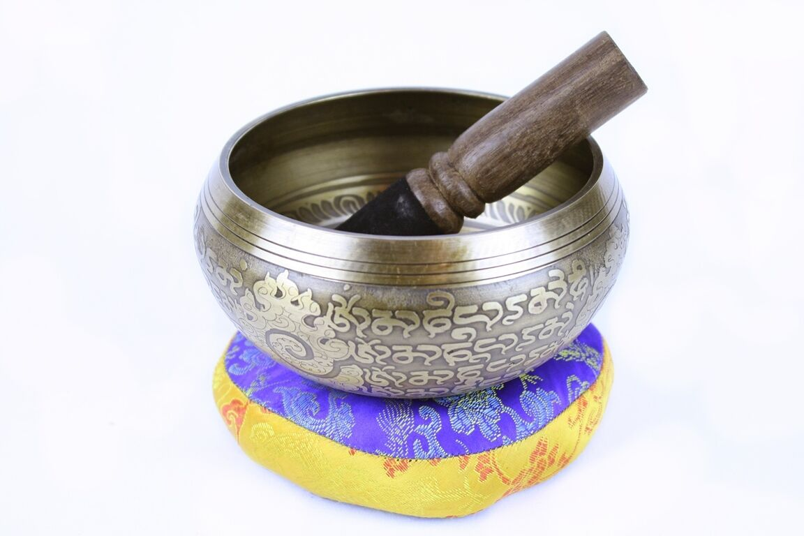 """SALE"" Singing Bowl/Stick/Cushion Machine Made Auspicious Symbols - 885g Note D"