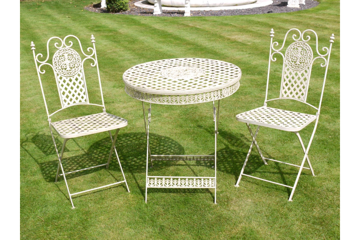 ANTIQUE SHABBY CHIC FRENCH WHITE GARDEN TABLE CHAIRS PATIO BISTRO SET (DX823)