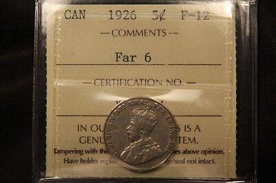 1926 CANADA 5 CENTS F 12 ICCS   FAR 6 KEY DATE NICKEL.