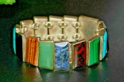 Taxco Mexico Heavy Vintage Sterling Link Bracelet Turquoise Blue Green 98g 194