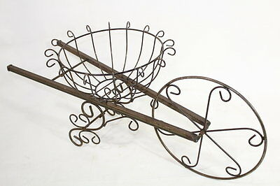 Wrought Iron Wheelbarrow Basket Plant Stand Decorative Container - Decorative Wheelbarrow
