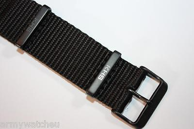 KHS Nato Armband Uhrenarmband Nylon Band Black PVD beschichtet Größe 22 mm