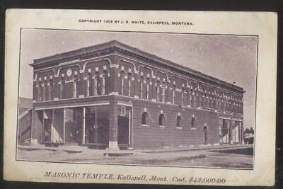 Postcard KALISPELL Montana/MT  New $42,000 Masonic Temple Storefront 1905 for sale  Columbiana
