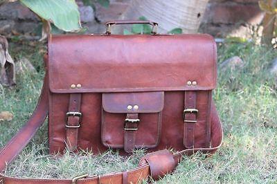New Large Messenger Bag Men's Genuine Brown Leather Shoulder Laptop Briefcase