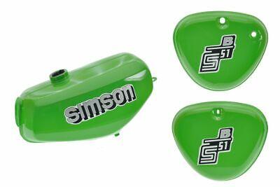 Tank Set mit Seitendeckel S51 S70 Gelbgrün, versiegelt, mit Aufkleber Simson