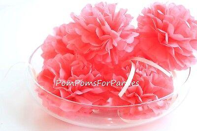 12 mini Seidenpapier Pompons (12 cm.) Serviettenring - Coral pink / Korallenrosa