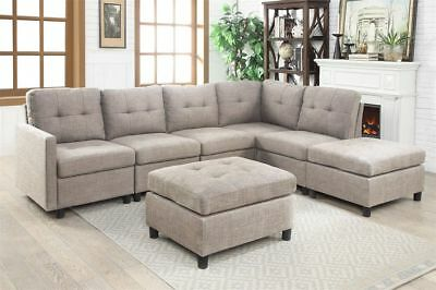 Sectional Sofa Set  Contemporary Couch Microsuede Reversible Chaise with Ottoman ()