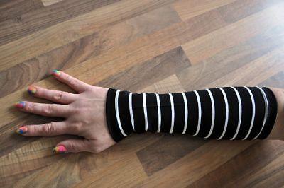 My Obsession Lagenlook traumhafte Jersey-MINI-STREIFEN Stulpen schwarz-weiss