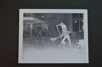 Vintage 1964 Polaroid Photo Men & Boys Playing Indoor Broom Hockey 937044 - Broom Hockey