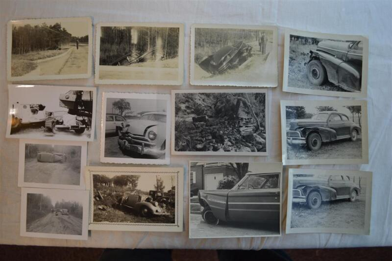 Lot 13 Unusual Vintage Photos Car Wrecks Buick Ford Oldsmobile Accidents 850013
