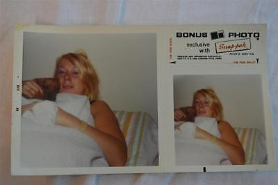 Vintage Double Image Photo Pretty Girl w/ Puppy Dog in Bed 855001