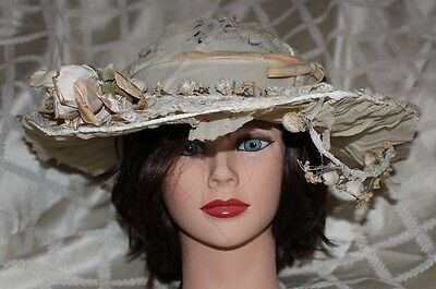 """ANTIQUE"" [ORIGINAL] 1868 VICTORIAN ERA:   Ivory Lacey with Flowers Women Hat"