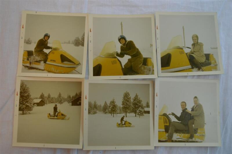Lot of 6 Vintage 1972 Photos Ski Doo Snowmobile in Winter Snow 850