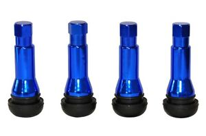 4-x-Blue-TR414-Metal-Sleeved-Tubeless-Rubber-Tyre-Valves-Dust-Caps